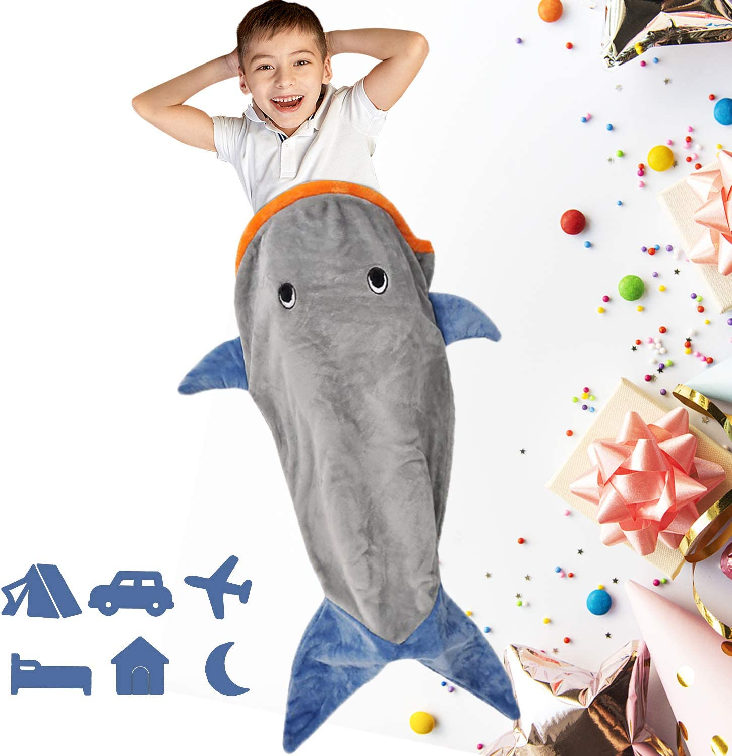 Baby Shark Sleeping Bag for Toddler Camping, Shark Tail Blanket for Boys Girls, Shark Snuggy Tail Throw Blanket, Shark Sleeping Bag for Children Bed, Idea Gift Use at Home, Camping or Traveling