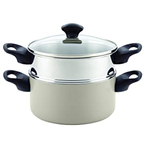 Farberware Dishwasher Safe Nonstick Aluminum Covered Saucepot & Steamer Insert, 3-Quart Stack 'N' Steam, Champagne