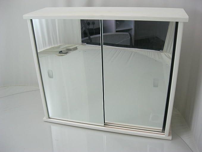 Generic Producto Madera Color Blanco 2 Puerta corredera Armario de baño con Medio Estante < 1 & 2933 * 1 >: Amazon.es: Electrónica