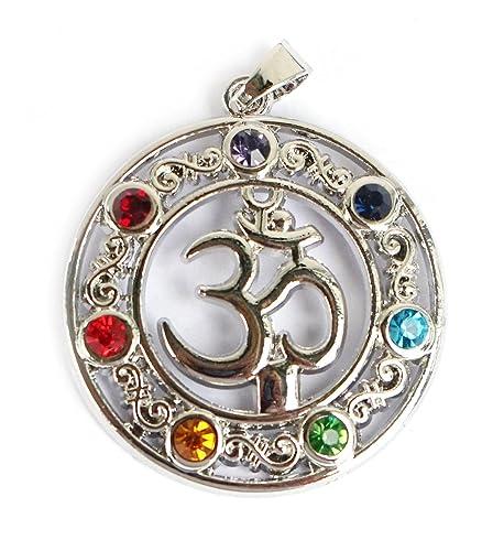 Colgante/Amuleto 7 Chakra Om/AUM Plata – Meditación – Yoga – espiritualidad – Esoterik – Astrología – Geometría Sagrada – Reiki – Balancing