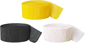 Andaz Press Crepe Paper Streamer Hanging Party Decorations Kit, 240-Feet, Yellow, Black, White, 1-Pack, 3-Rolls, Bumblebee Bee Colored Wedding Baby Bridal Shower Birthday Supplies