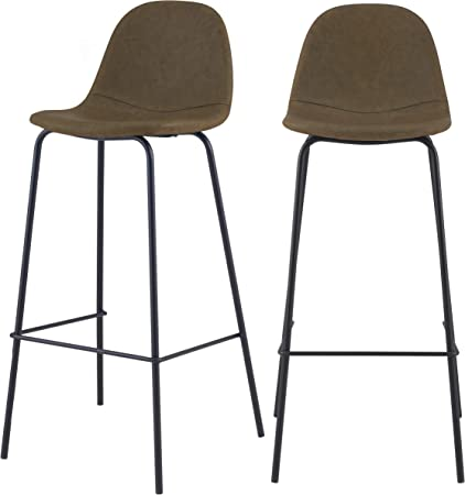 Rendez vous déco Chaise de Bar Henrik Vert Kaki 75 cm (Lot