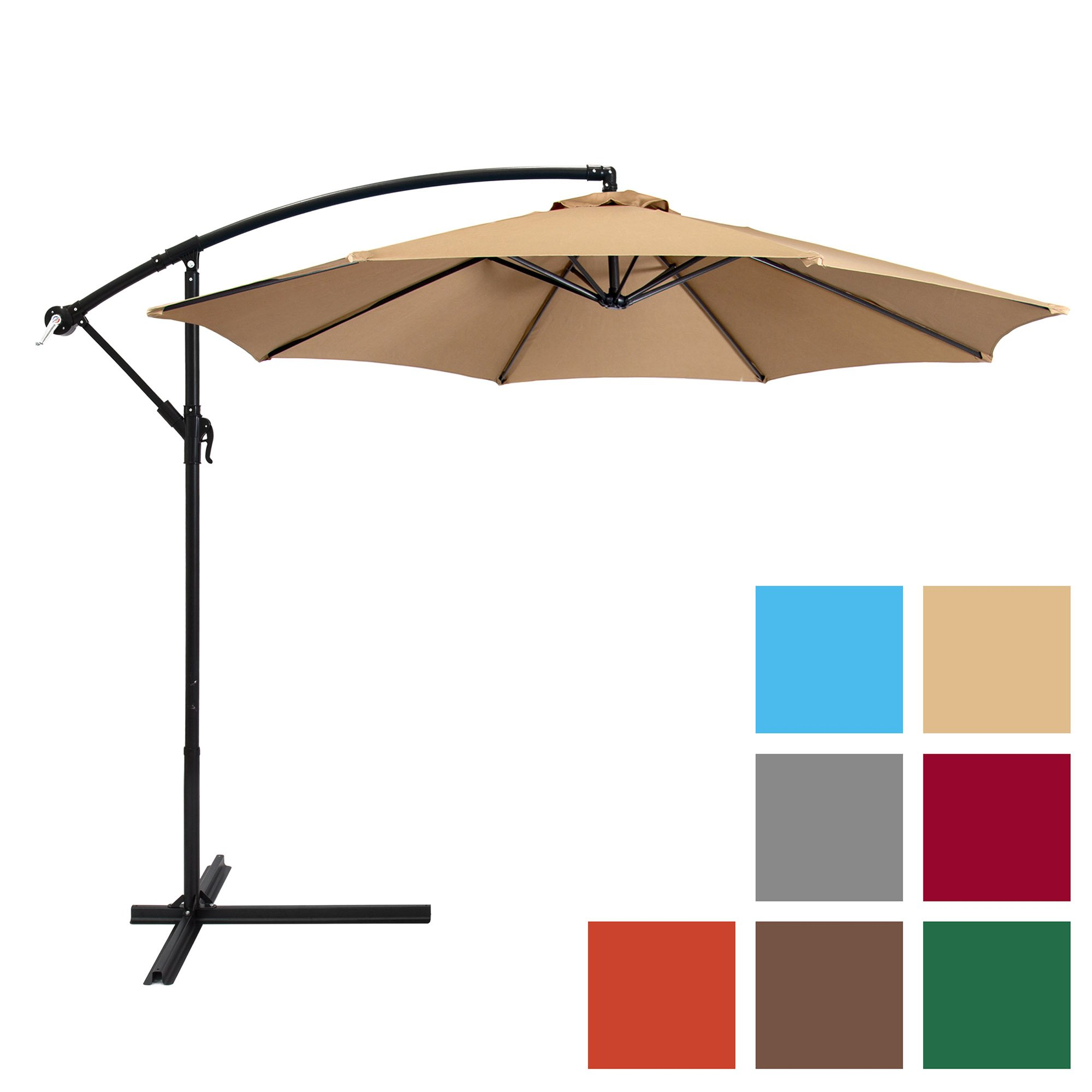 Best Choice Products 10ft Offset Hanging Market Patio Umbrella w/ Easy Tilt Adjustment, Polyester Shade, 8 Ribs for Backyard, Poolside, Lawn and Garden - Beige by Best Choice Products