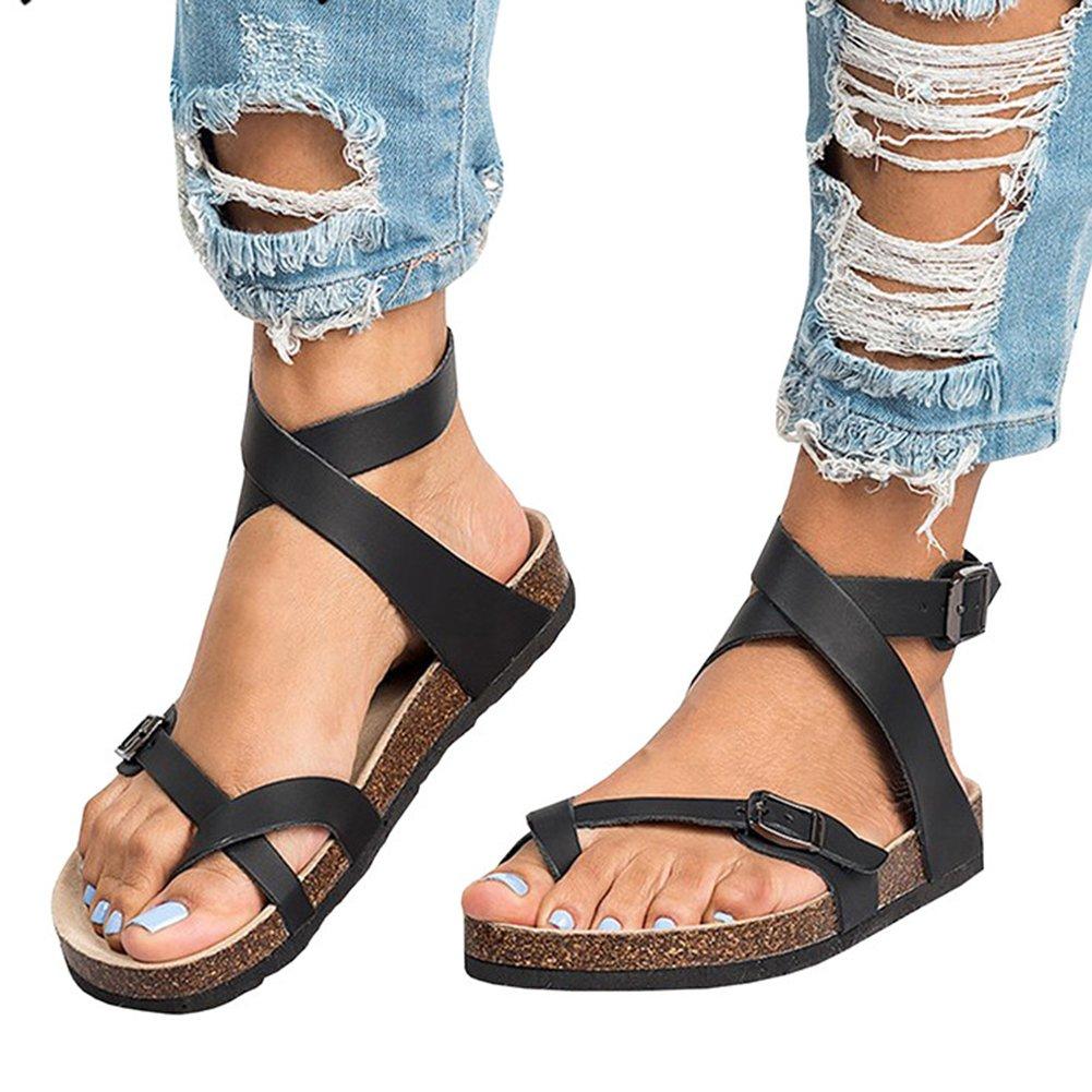 53eae2987aa2 Juleya Womens Roman Sandals Flat Shoes Gladiator Clip Toe Sandals ...