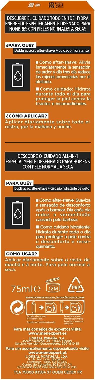 LOréal Paris Men Expert - Todo en 1, After shave, Crema hidratante Hydra Energetic para Hombres, 75 ml: Amazon.es: Belleza