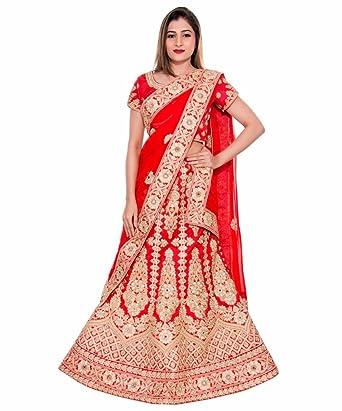 2a881668cd Milonee Indian Ethnic Bollywood Womens Printed Designer Unstitched Lace  Border Lehenga Choli Set Wedding Party Wear Red Small: Amazon.co.uk:  Clothing
