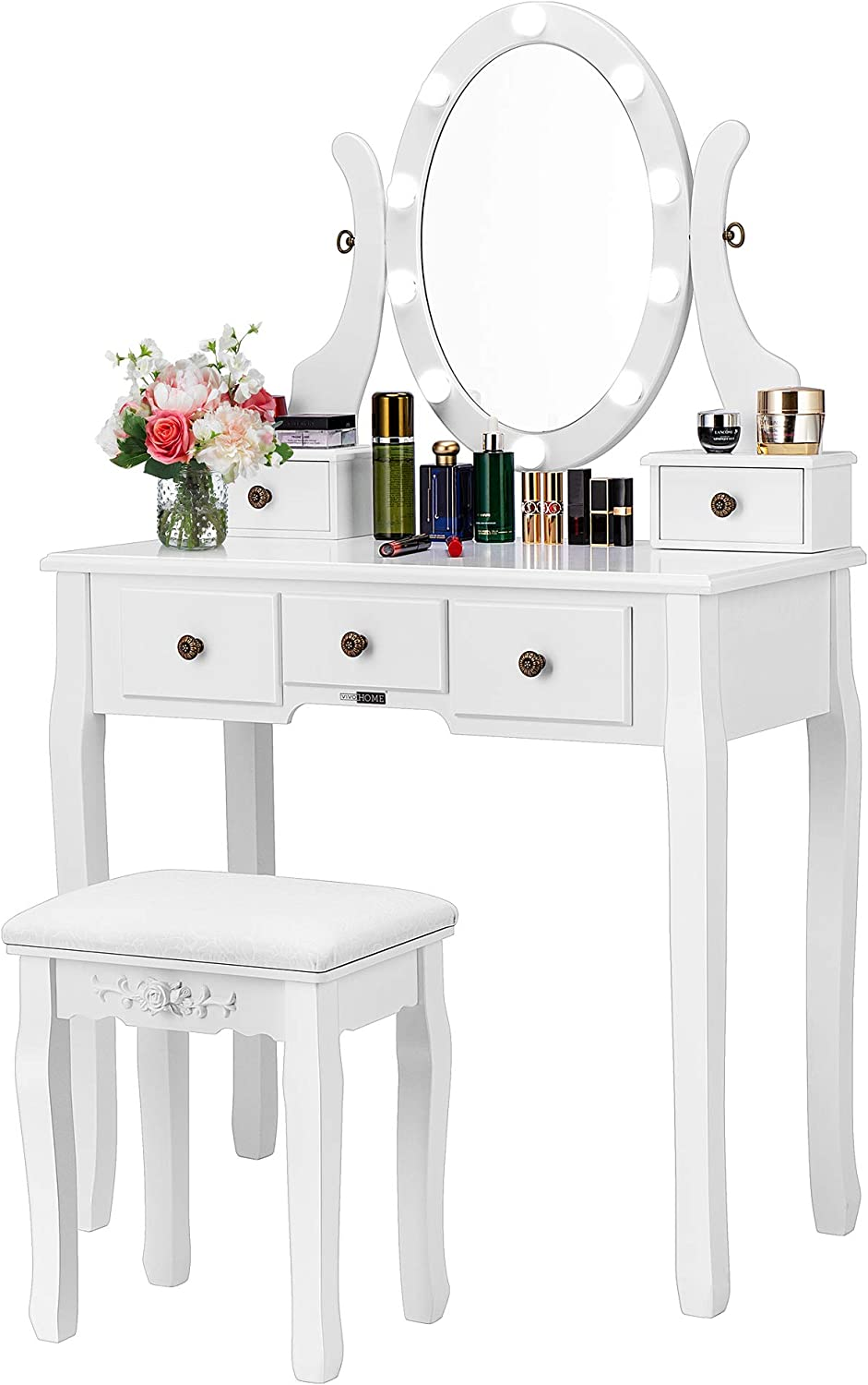 Amazon Com Vivohome Makeup Vanity Set With 10 Led Bulbs Dressing Table With 360 Rotating Lighted Mirror And Cushioned Stool White Kitchen Dining