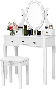 VIVOHOME Makeup Vanity Set with 10 LED Bulbs, Dressing Table with 360° Rotating Lighted Mirror and Cushioned Stool, White