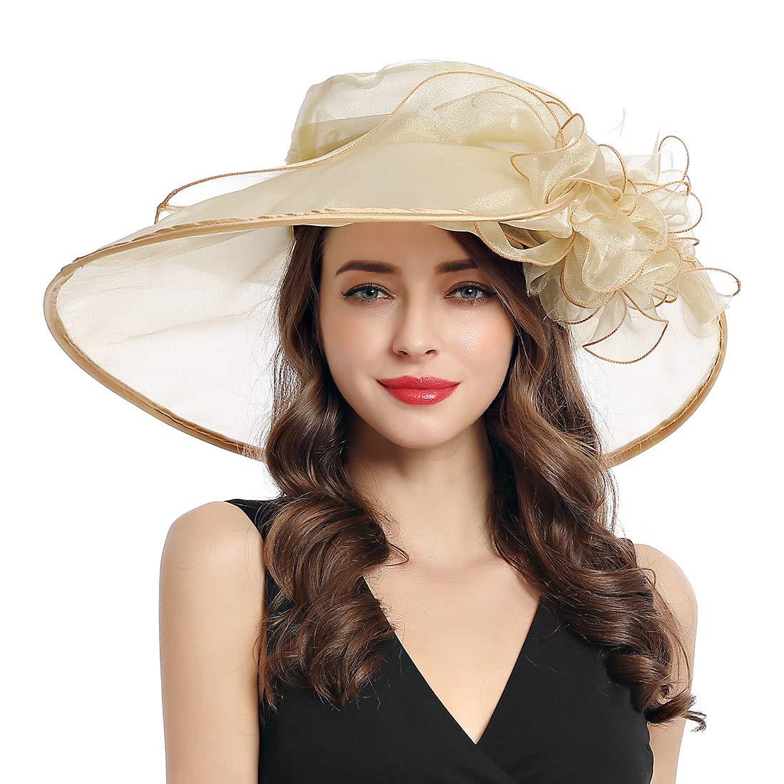 Women's Organza Church Derby Fascinator Cap Kentucky Tea Party Wedding Hat (9A-Champagne) by MissCynthia
