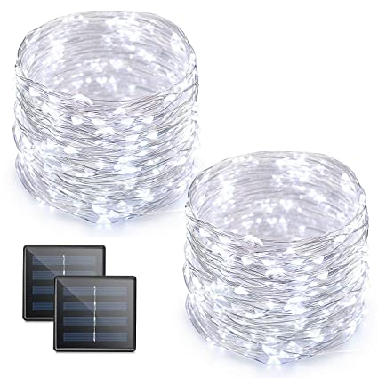 Vmanoo Led String Lights 72 Feet 200 Led Solar Powered Copper Wire Starry Rope Lights Indoor Outdoor Lighting For Home Garden Party Path Lawn