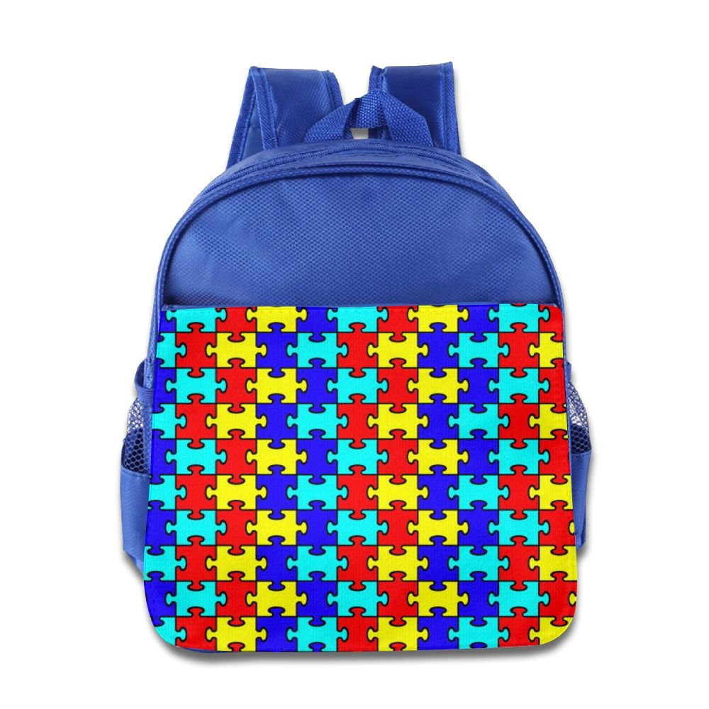 durable service KEPan Lightweight Bookbag Autism Awareness Colorful Puzzle Piece Kids Backpack Outdoor Daypack