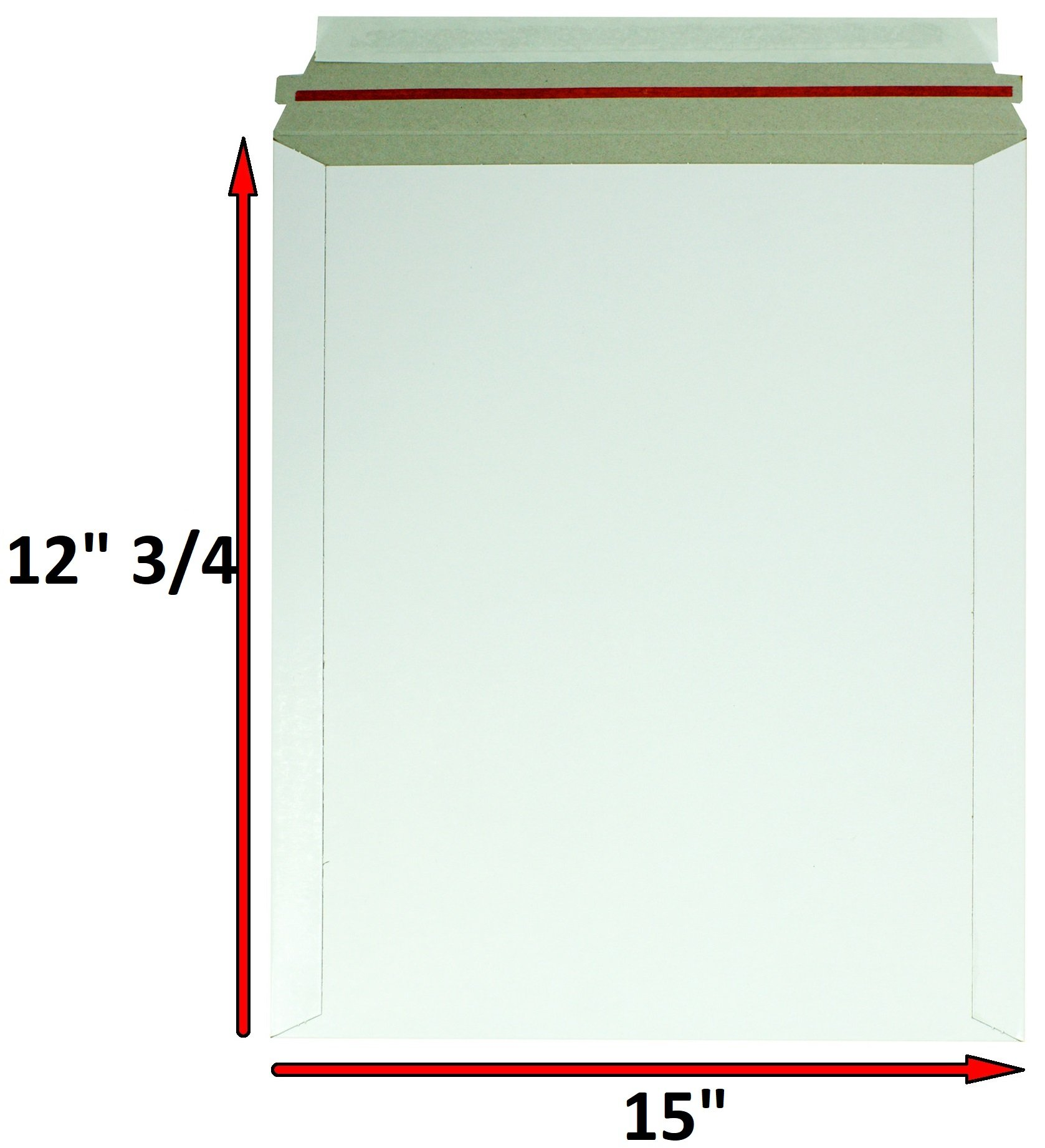 Rigid Mailers 12.75 x 15 Paperboard mailers 12 3/4 x 15 by Amiff. Pack of 10 white photo mailers. Stay Flat mailers. No bend, Self sealing. Documents cardboard envelopes. Mailing, shipping, packaging.