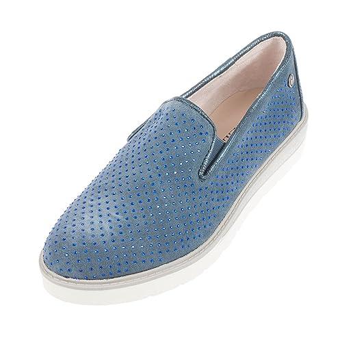 Carmela - Mocasines de Ante para mujer multicolor jeans: Amazon.es: Zapatos y complementos