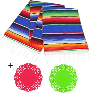BigOtters Mexican Serape Table Runner, Fringe Cotton Handwoven Table Runner with 2PCS Silicone Cup Pads for Mexican Party Wedding Decor Outdoor Picnics Dining Table Supply