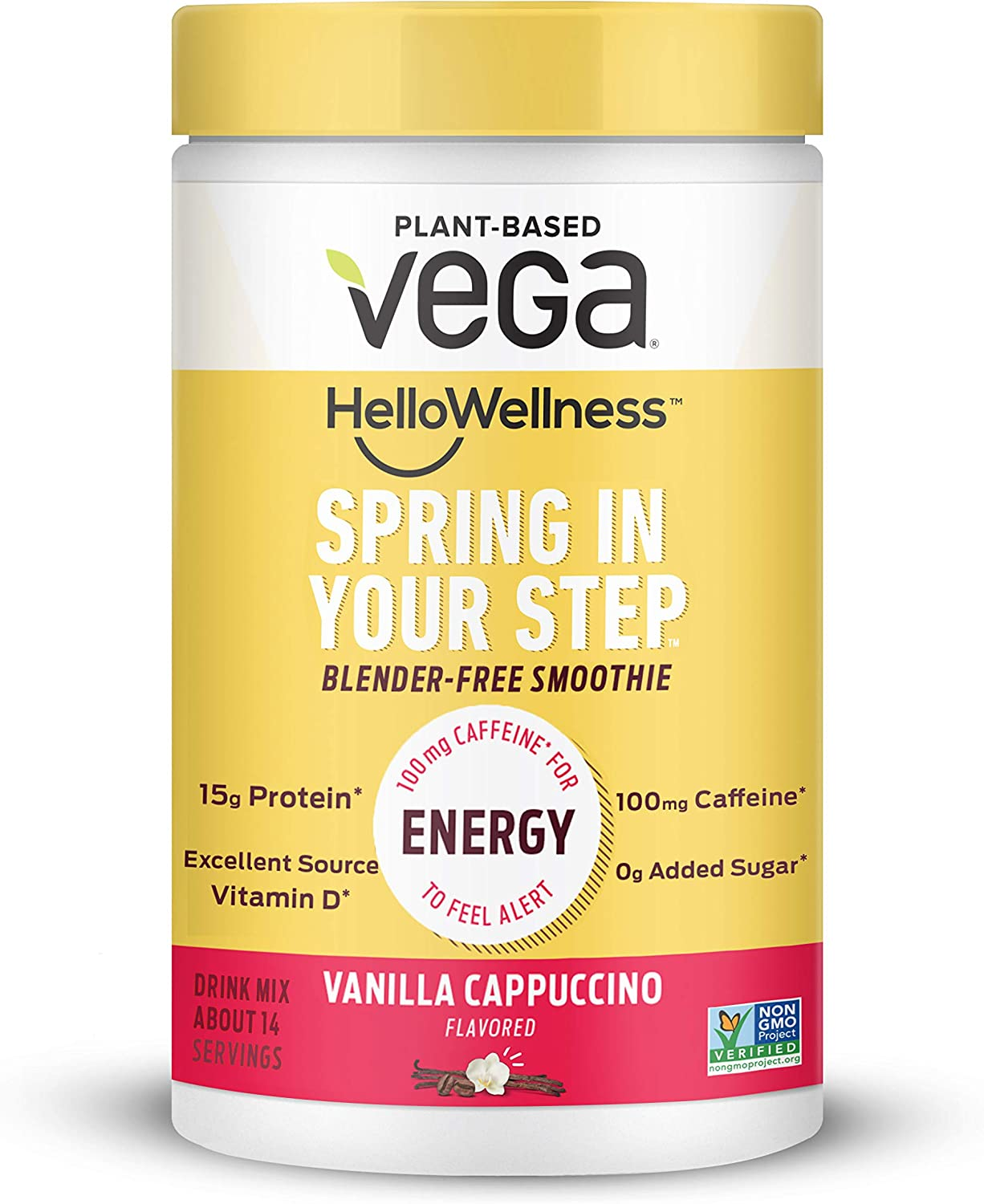 Vega Hello Wellness Spring in Your Step Blender Free Smoothie 14 Servings oz Plant Based Vegan Protein Powder 100mg Caffeine Vitamin D, Energy - Vanilla Cappuccino, 13.8 Ounce