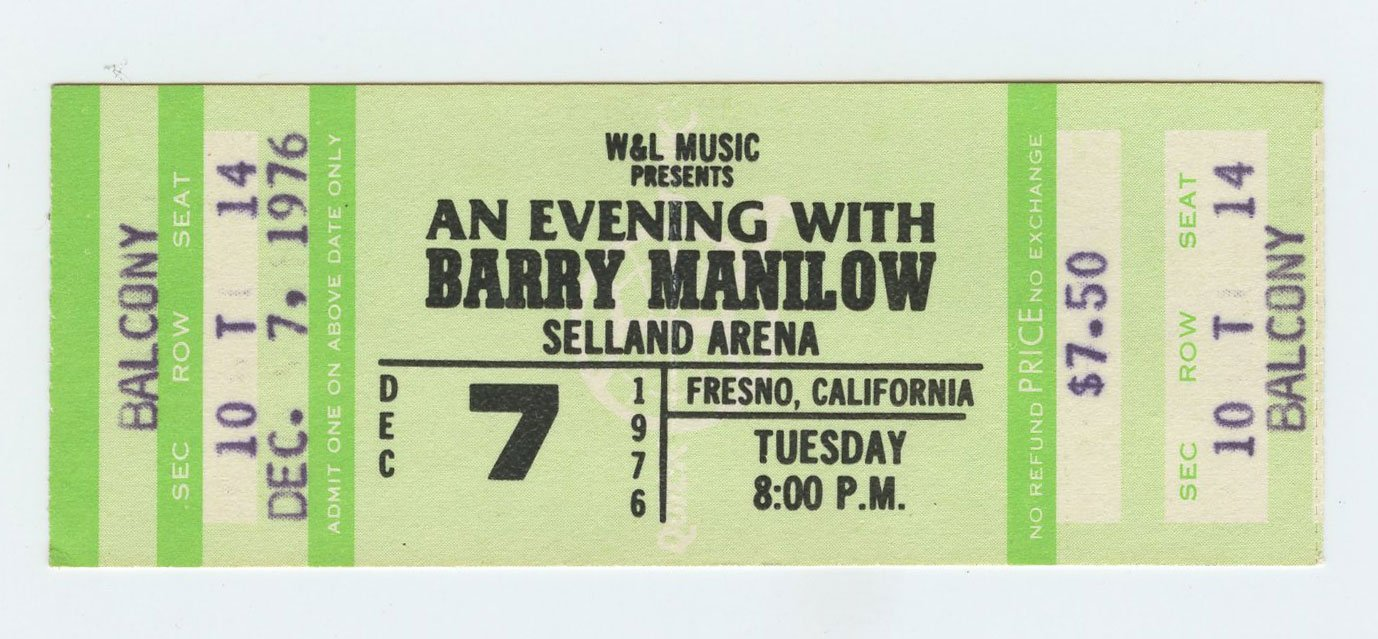 Barry Manilow Ticket 1976 Dec 7 Selland Arena Fresno Ca Unused