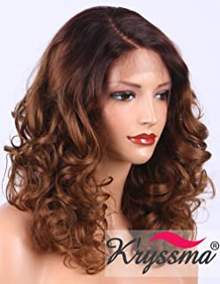Kryssma Curly Lace Front Wig for Women Medium Length L Part Deep Parting Ombre