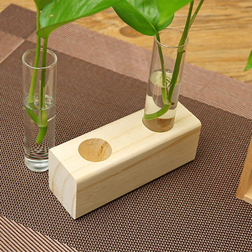 certainPL Hydroponic Plant, 木製フレーム 透明花瓶プランター ホーム オフィス 装飾用 透明 B クリア B  B07GLSSQ3V