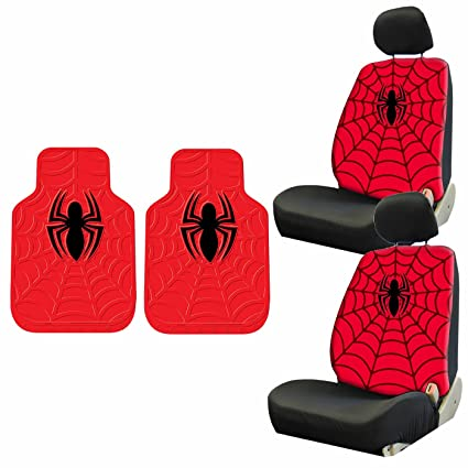 6pc Marvel Comics Spiderman Front Rubber Floor Mats Lowback Seat Covers Set New