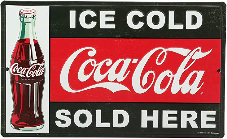 wooden Large round ice cold Coca Cola sold here sign vintage
