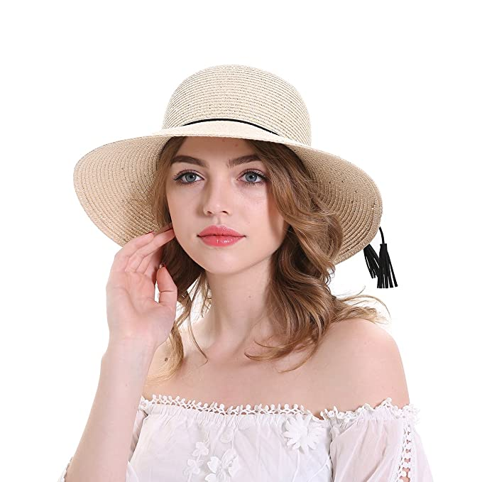 MEEFUR Casual Summer Beach Hats Rope Solid Bucket Cord Paper Straw Sun Hat  Sequins Foldable Roll 06a9cc6bb6f1