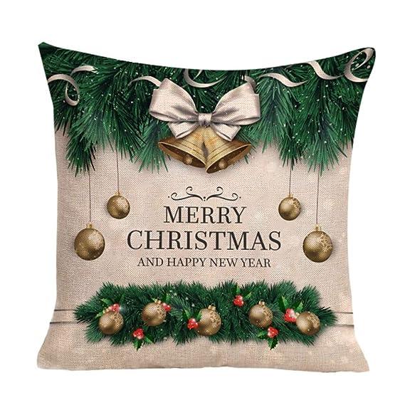 JiaMeng Fundas De Cojines, Happy Christmas Cushion Cover Funda de Almohada Cuadrada Funda de Almohada geométrica Simple 45cm x 45cm: Amazon.es: Ropa y ...