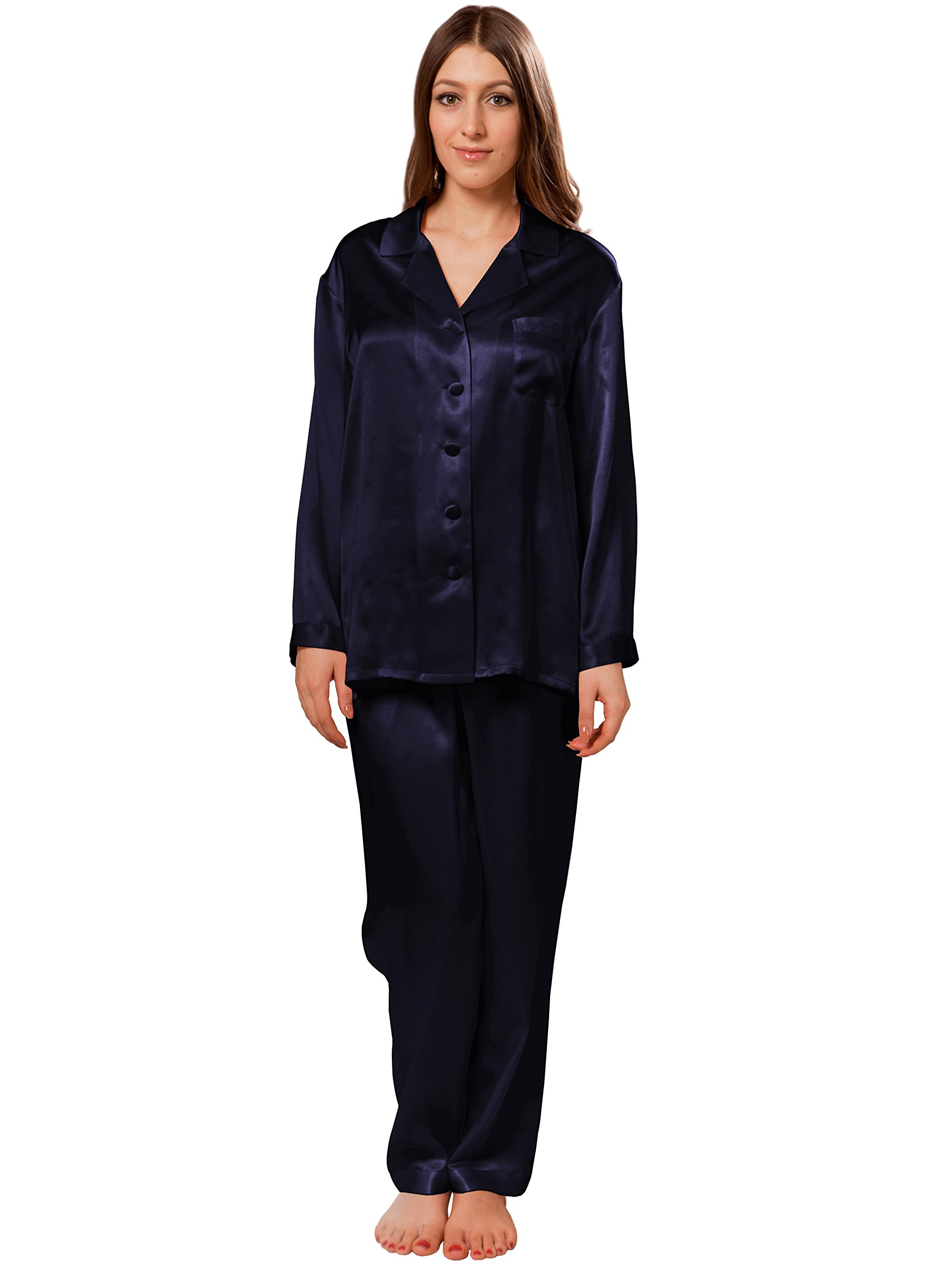 ElleSilk Pajamas For Women, Mulberry Silk Nightwear, Premium Quality, Super Comfortable, Navy, M