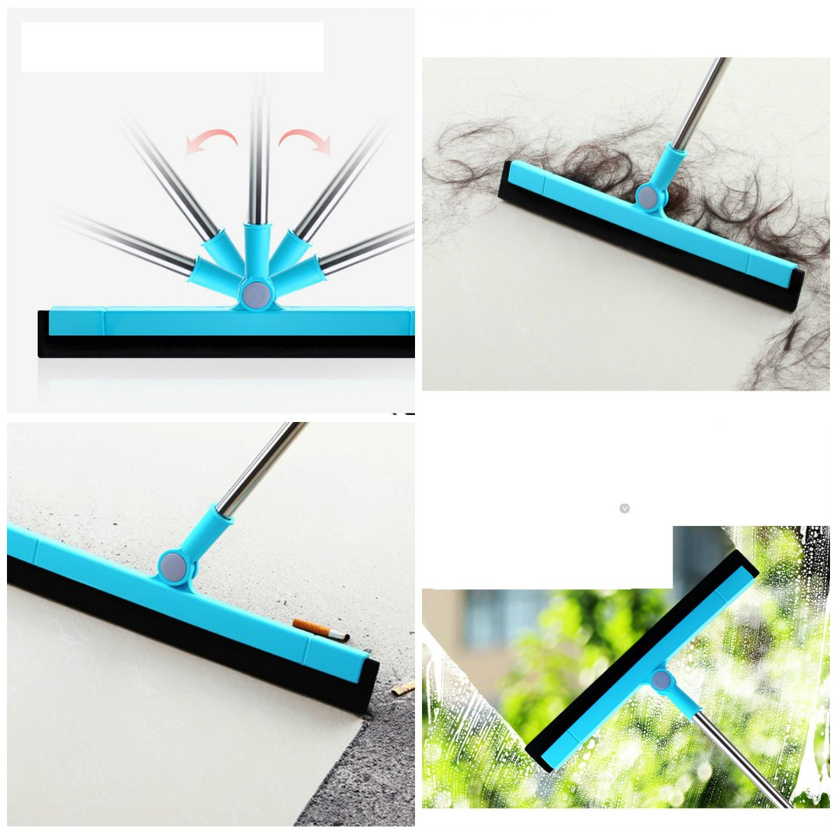 Floor Squeegee Wiper Window Squeegee Cleaner Blade Water Wiper Glass Sweep Brush for Bathroom Wet Room Floor Pet Hair Window Cleaning by Ying (Image #2)