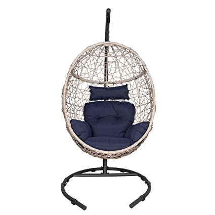 Wondrous Ulax Furniture Outdoor Patio Wicker Hanging Basket Swing Chair Tear Drop Egg Chair With Cushion And Stand Navy Bralicious Painted Fabric Chair Ideas Braliciousco