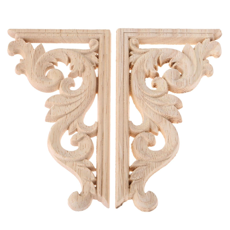 2pcs left righteach 1pcs vintage wooden carved corner onlay furniture wall decor unpainted frame applique amazon co uk kitchen home