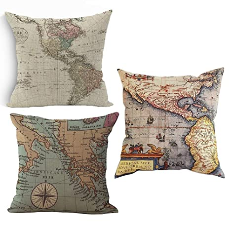 Amazing Wonder4 Map Art Throw Pillow Covers Cotton Linen Square Decorative Geography Theme Throw Pillow Cases Couch Covers 18 X 18 Set Of 3 Creativecarmelina Interior Chair Design Creativecarmelinacom