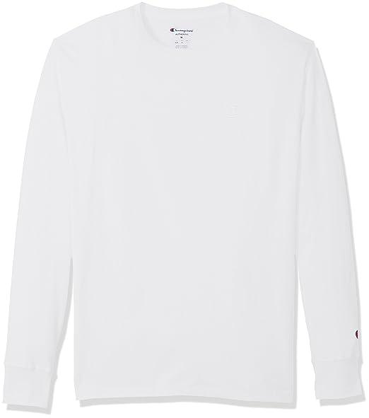 3754d35c94f648 Champion Men's Classic Jersey Long Sleeve T-Shirt, White, L: Amazon ...