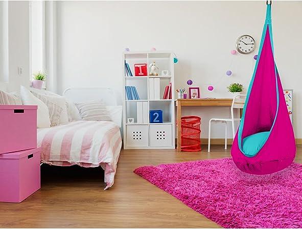 per Cameretta e Allaperto Rosa e Turchese Kit Completo SAMAY Amaca per Bambini per Interni ed Esterni Sedia a Dondolo con Cuscino