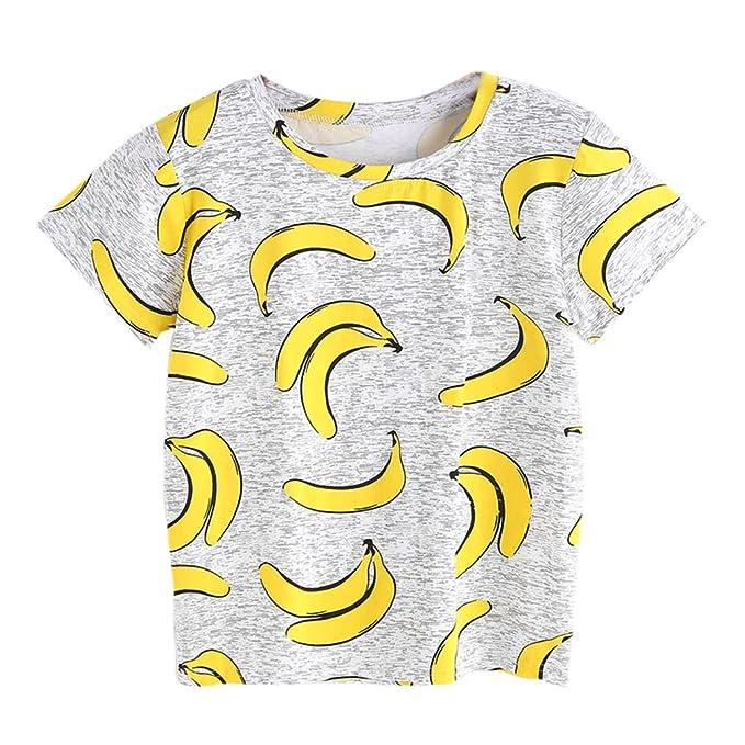 OuYou Blusas de Las Mujeres de Moda 2018 de Manga Corta Cuello Redondo Impresión de Plátano