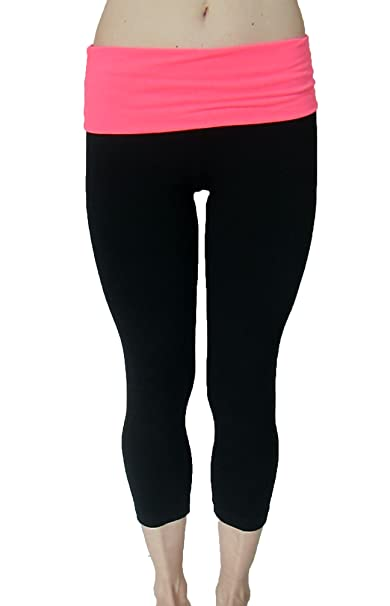 18d9929442 Fold Down Waist Yoga Capri Pants with Bright Neon Pink waist at Amazon  Women's Clothing store: