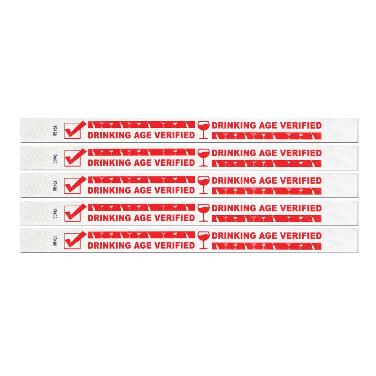Club Pack of 600 White and Red Drinking Age Verified Tyvek Party Wristbands 10''