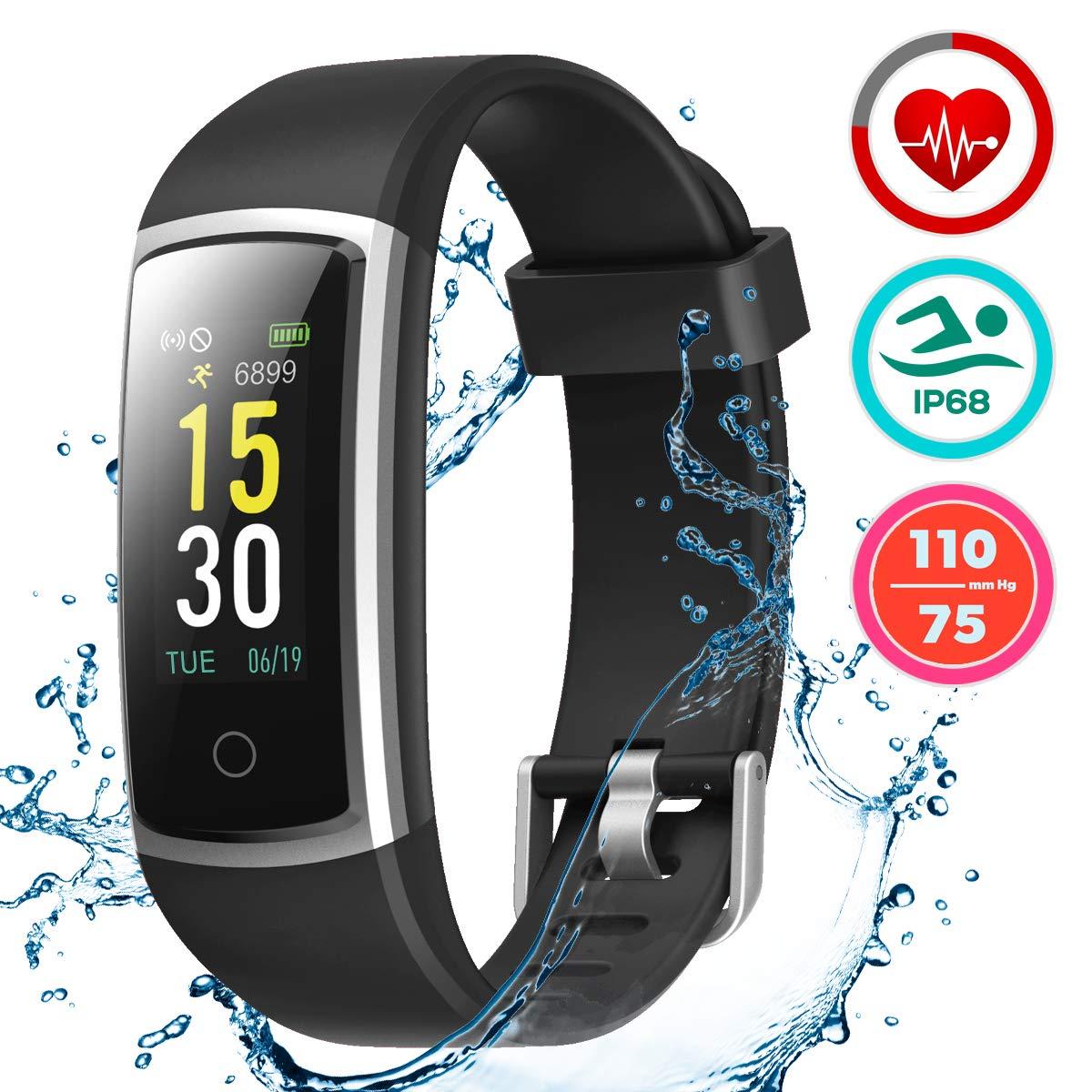 c5e2c7302761bd LATEC Orologio Fitness Tracker Smartwatch Android iOS Cardiofrequenzimetro  Monitor per la Pressione del Sangue Impermeabile IP68