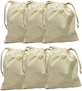 Earthwise Cotton Muslin Produce Bags with Drawstring for Grocery Shopping and Storing, Bulk Foods, Nuts, Grains, Spices Storage & Organizing 11.5 inches x 13.5 inches (Set of 6)