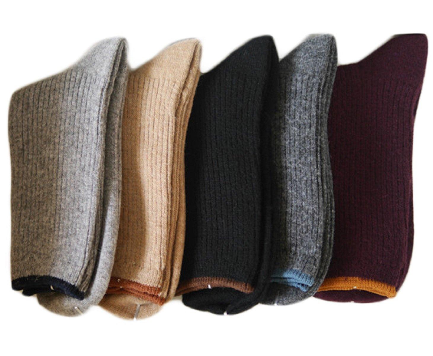 Lovely Annie Women's 3 Pairs Wool Blend Crew Socks HR1612 Casual Solid Size 6-9 (Black, Dark Grey, Wine)