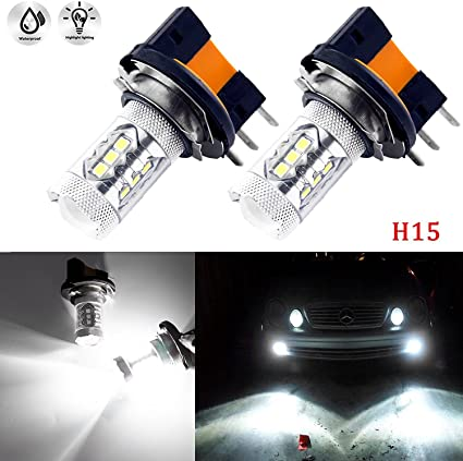 2x H15 LED XENON WHITE CREE DRL DAYTIME RUNNING LIGHT BULBS 6000k VW AUDI 80W