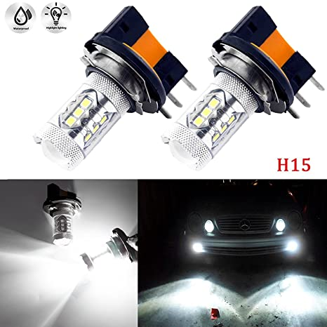a008b658afde Amazon.com  (2) Super Bright White 6000K 80W H15 CREE LED Bulbs Lamps for  Audi BMW Benz VW Daytime Running Lights DRL  Automotive
