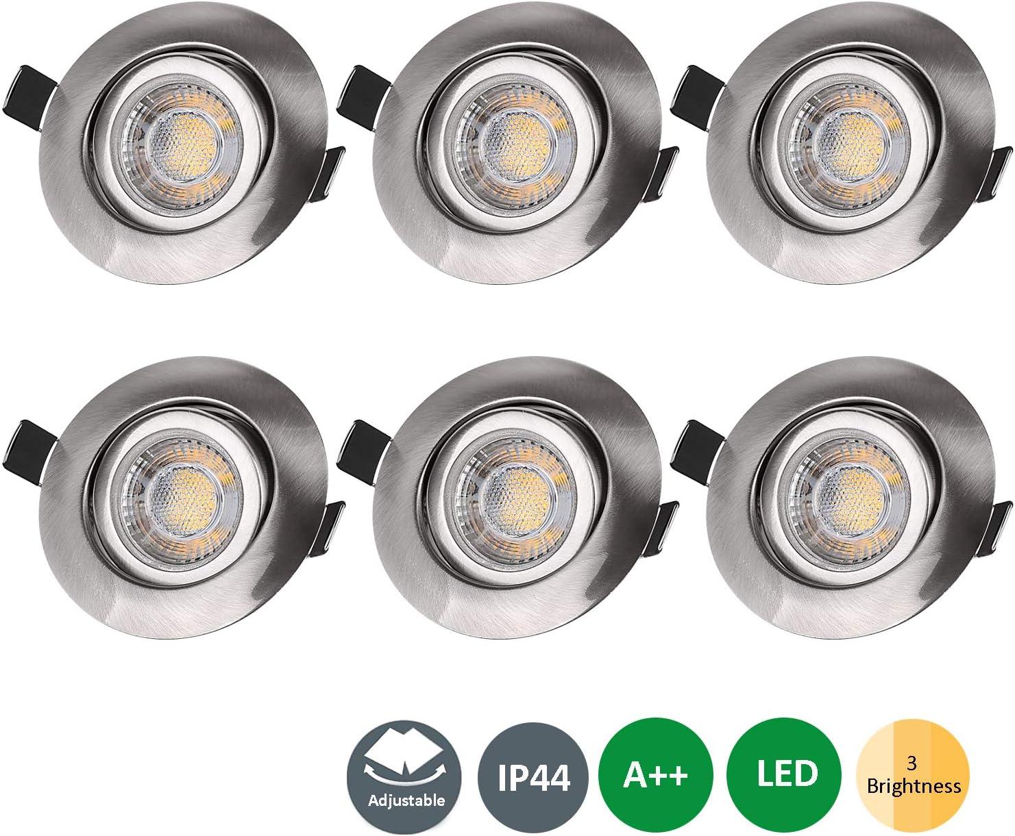 LED Bad Einbaustrahler Set IP44 230V 7W GU10 3000k warmweiß Feuchtraum Keller