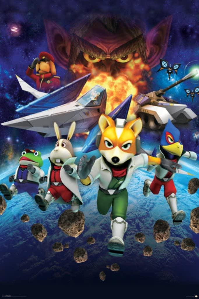 Pyramid America Star Fox Space Battle Fox McCloud Arwing Super Nintendo 64 Gamecube Wii U Characters Cool Wall Decor Art Print Poster 24x36