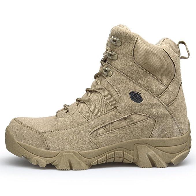 00c8919e357 MHSXN Botas Militar Para Hombre Del Ejército Táctico Al Aire Libre Desierto  Hombres Transpirable Acampar Senderismo Combate Lace Up High Top Zapatos De  ...