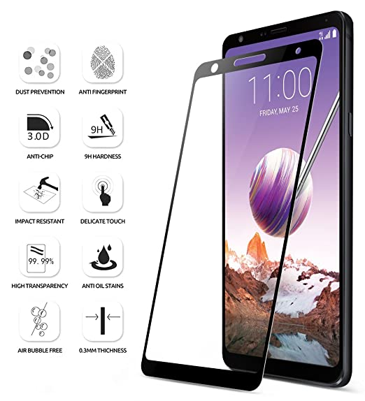 amazon com lg stylo 4 screen protector poetic hd clear case friendly anti fingerprint premium tempered glass screen protector for lg stylo 4 black