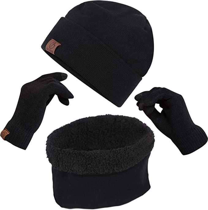 Becann Winter Beanie Hats Scarf Touch Screen Gloves 3 Pieces Large Hat Scarf Gloves Set Thick Knit Skull Cap For Men Women Black At Amazon Men S Clothing Store