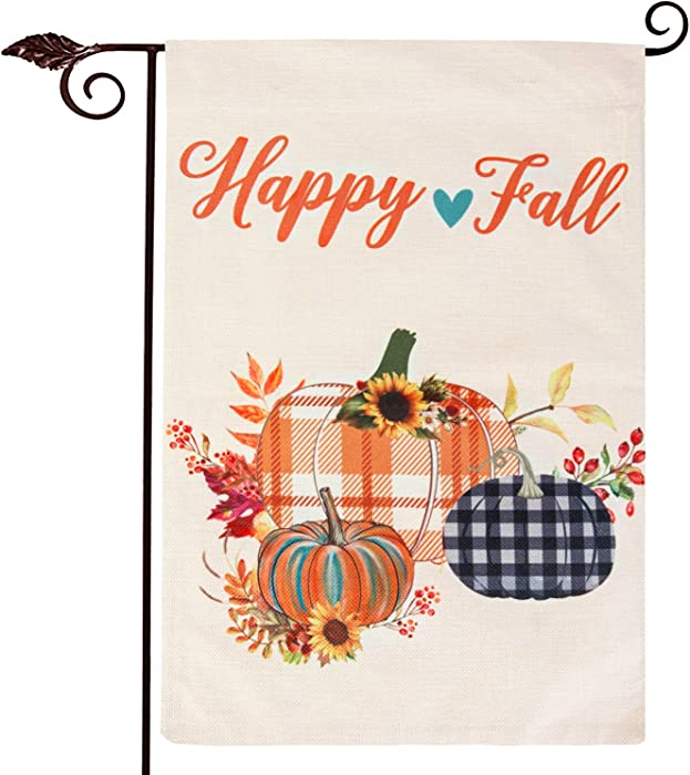 Unves Happy Fall Garden Flag, Vertical Double Sided Burlap Buffalo Plaid Pumpkin Thanksgiving Garden Flag with Sunflowers Autumn Maple Leaves, Fall Thanksgiving Harvest Rustic Yard Outdoor Decoration 12.5 x 18