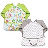 Luxja Babero Impremeable con mangas larga para bebé, Ropa Impremeable para niños pequeños (6-24 meses), 2 Piezas