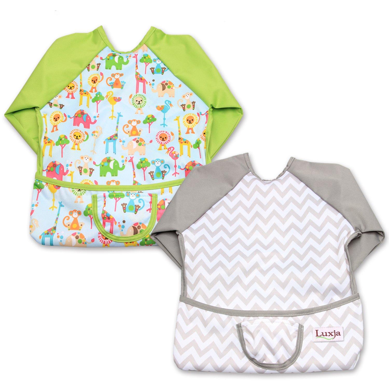 Luxja Babero Impremeable con mangas larga para bebé, Ropa Impremeable para niños pequeños (6