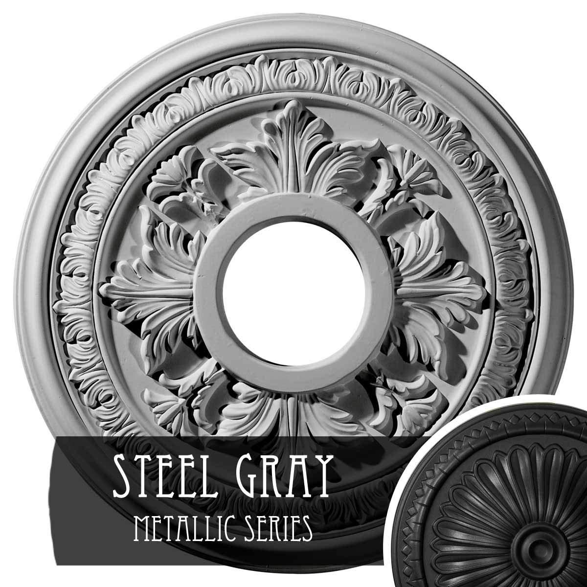 Ekena Millwork CM15BASGS Baltimore Hand-Painted Ceiling Medallion, Steel Gray